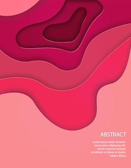 Vertical fundo rosa com ondas 3d abstratas e formas de corte de papel.