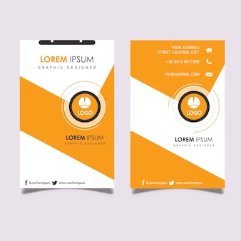 Vertical orange & gray business card