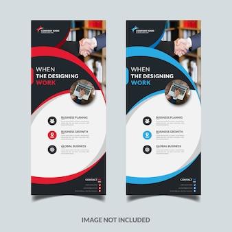 Vertical vermelho e azul arregaçar o modelo de design de banner