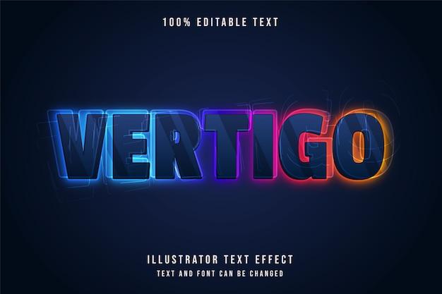 Vertigem, efeito de texto editável em 3d estilo de texto gradação azul neon colorfull