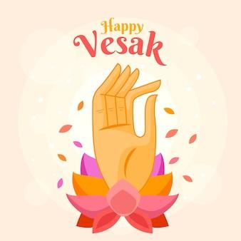 Vesak feliz com mão e lotus
