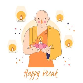 Vesak feliz com monge segurando vela