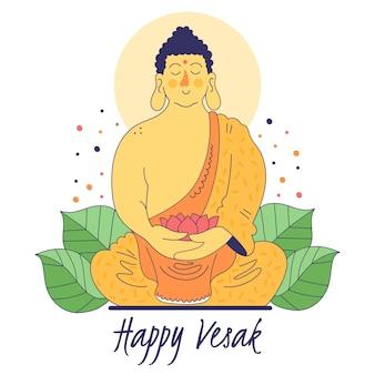 Vesak feliz com monge