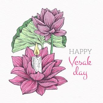 Vesak feliz desenhado à mão