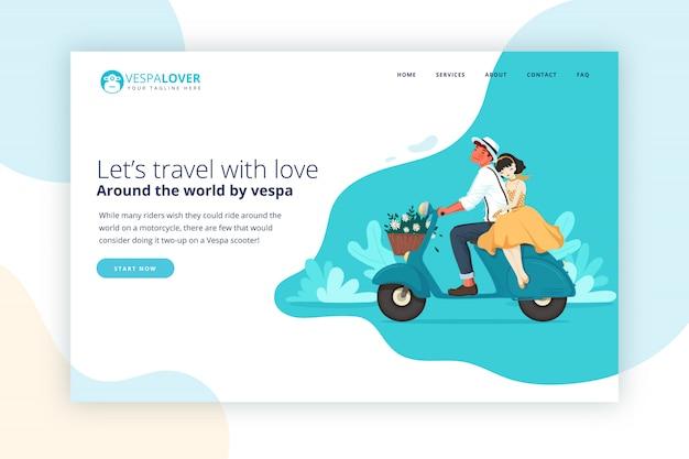 Vespa casal viajando página de destino