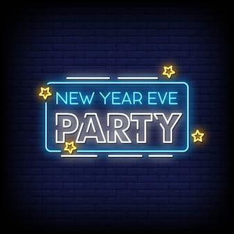 Véspera de ano novo festa sinais de néon estilo texto
