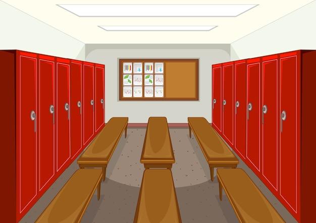 Vestiário esportivo com fundo de armário