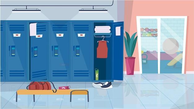 Vestiário no conceito de interior do ginásio na sala de design plano dos desenhos animados com armários para armazenar roupas esportivas.