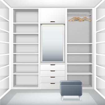 Vestiário vazio de vetor branco com prateleiras, gavetas, cabides, espelho e vista frontal do pufe cinza