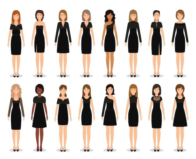 Vestidinho preto nas mulheres. conjunto de vestidos de cocktail elegantes. vestuário de silhueta.