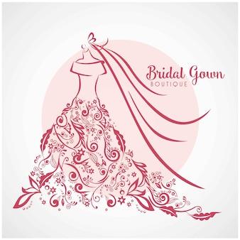 Vestido boutique nupcial logotipo floral modelo ilustração design vetorial