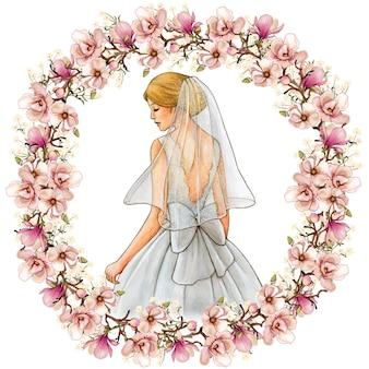 Vestido branco com ilustração em aquarela de noiva e coroa de magnólia