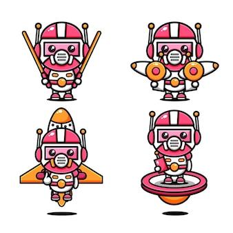 Vestido com tema de design de personagens e equipamentos espaciais fofos