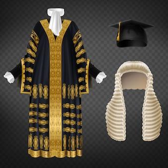 Vestido de corte preto com bordados decorativos dourados, longa peruca com cachos e touca de capelo