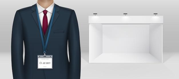 Vestido de empresário de terno preto com porta-crachá de cartão de identificação em imagem realista de cordão azul