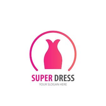 Vestido de logotipo para empresa de negócios. projeto de ideia de logotipo de vestido simples. conceito de identidade corporativa. ícone de vestido criativo da coleção de acessórios.
