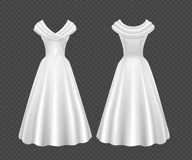 Vestido de mulher de casamento branco com saia longa