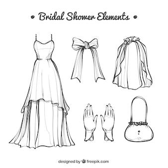 Vestido de noiva desenhado à mão com outros acessórios