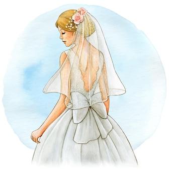 Vestido e véu branco com ilustração de noiva em aquarela