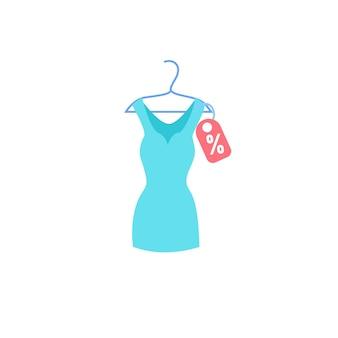 Vestido liso elegante de desenho vetorial em cabide de roupas. novo vestuário bonito da moda isolado em uma loja de roupas de fundo vazio, conceito de compras e moda, design de anúncio de banner de site da web