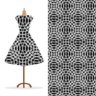 Vestido longo feminino simulado com padrão brilhante desenhado à mão sem costura para impressão de papel têxtil