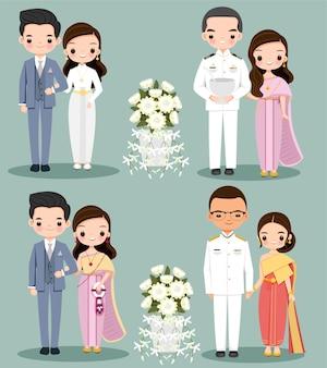 Vestido tradicional de casal fofo para cartão de convite de casamento