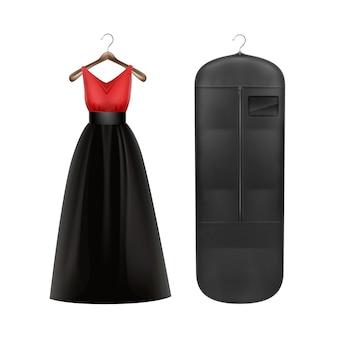 Vestido vermelho de vetor e capa à prova de poeira de armazenamento preta na vista frontal do cabide isolado no fundo branco