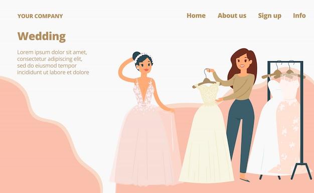 Vestidos de casamento para noivas, página de destino, ilustração dos desenhos animados. moda noiva e dama de honra desgaste.