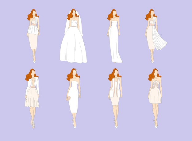 Vestidos de noiva em estilos diferentes. ilustração.