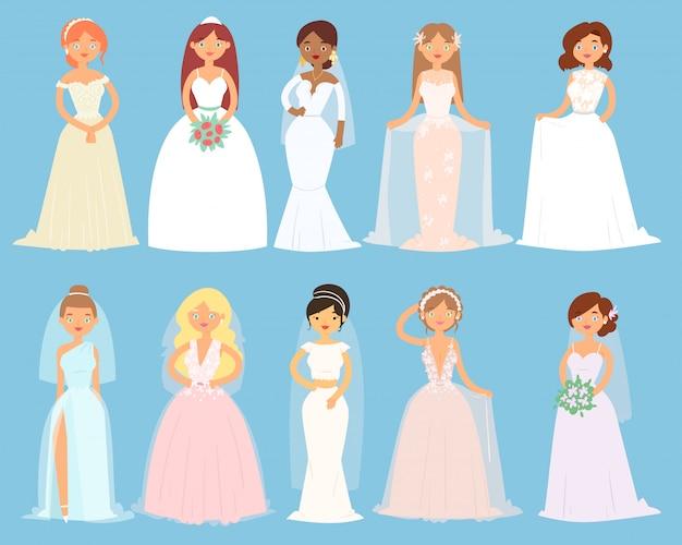 Vestidos de noiva, personagem de noiva mulher e dama de honra, usando acessórios de vestir branco e conjunto de ilustração de festa nupcial de menina casável em vestido de noiva, isolado no fundo