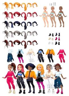 Vestidos e penteados. traje de personagem. avatar feminino.