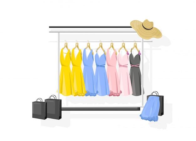 Vestir a coleção estilo simples. vestidos clássicos coloridos das mulheres em prateleiras