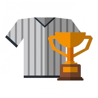 Vestuário de desporto de tshirt de beisebol com copa do troféu