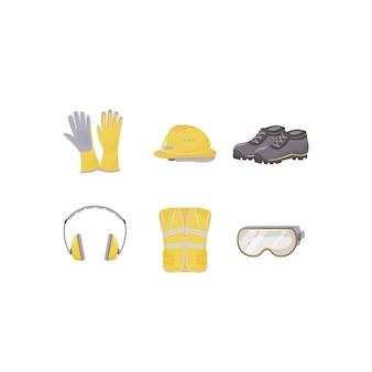 Vestuário de trabalho, conjunto de objetos de cor plana de equipamento de proteção individual