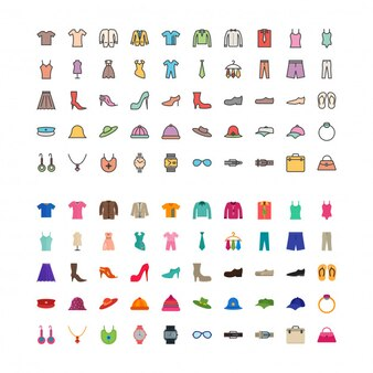 Vestuário e moda plana e preenchida com 100 ícones conjunto