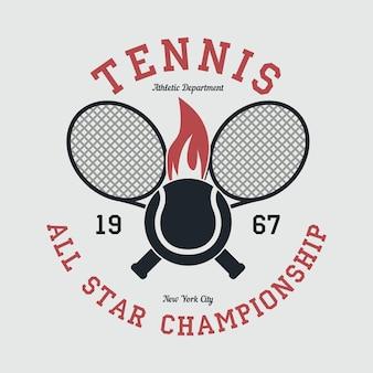 Vestuário esportivo de tênis com raquete e bola de fogo do campeonato all star de nova york