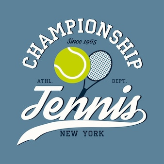 Vestuário esportivo de tênis com raquete e bola emblema de tipografia do campeonato de nova york para camiseta