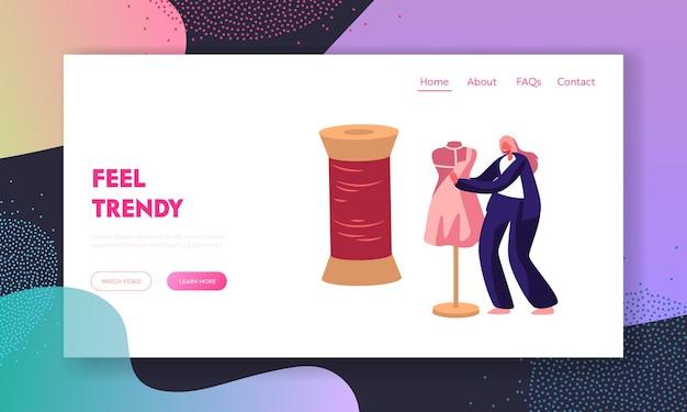 Vestuário ou designer de moda projetando roupas na página de destino do site do manequim