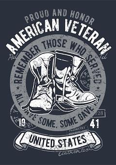 Veterano americano, pôster de ilustração vintage.