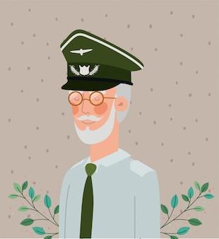 Veterano celebração militar crd com folhas