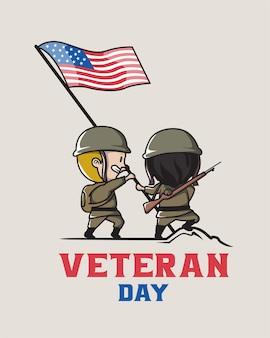 Veterano dos estados unidos dá as boas-vindas ao dia dos veteranos