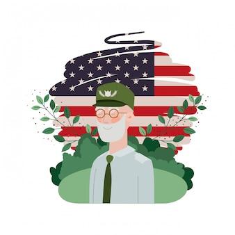 Veterano, guerra, homem velho, com, paisagem, e, estados unidos, bandeira