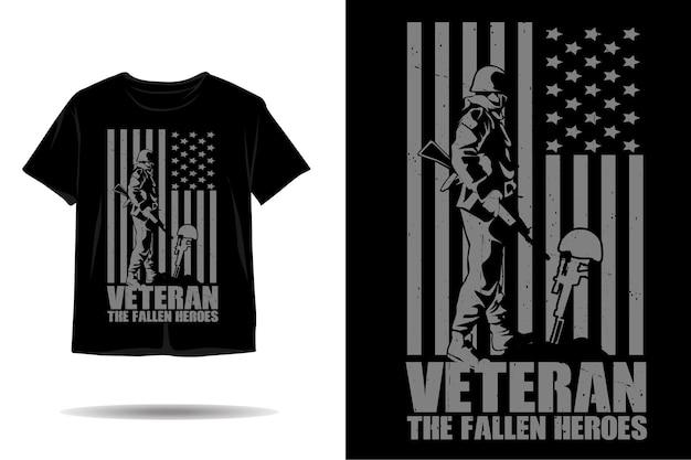 Veterano, o design da camiseta da silhueta dos heróis caídos