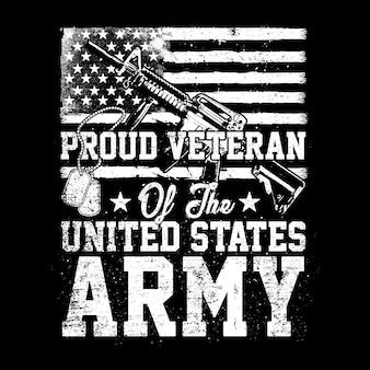 Veterano orgulhoso do exército dos eua, ilustração americana do veterano