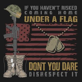 Veterano voltando para casa sob uma bandeira