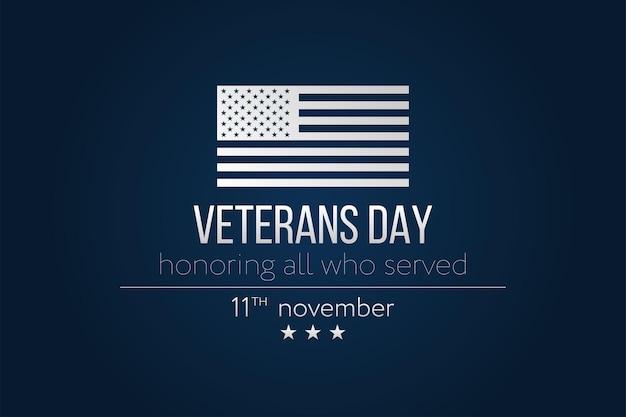 Veteranos dia cartão simples com bandeira dos eua. ilustração vetorial