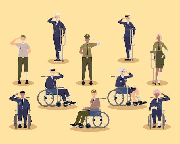 Veteranos mulheres e homens com próteses