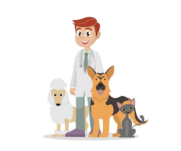 Veterinária e animais de estimação.