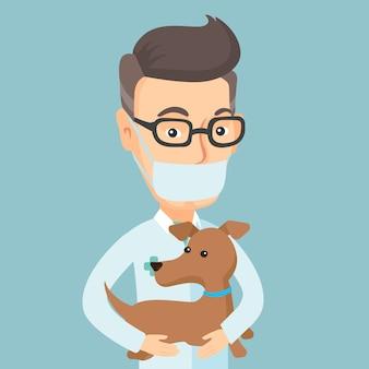 Veterinário com cachorro em ilustração vetorial de mãos