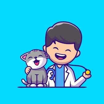 Veterinário com ilustração do ícone dos desenhos animados do gato e do estetoscópio. conceito de ícone de profissão de pessoas isolado. estilo flat cartoon